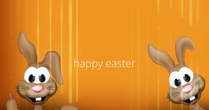 Two happy easter bunnies 3D orange striped background. Graphic illustration modern image graphic Stock Photography