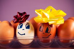 Two happy eggs in the tray look at each other.on pink background, close up. stock images
