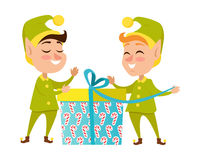 Two Happy Elves with Present on White Background Royalty Free Stock Image