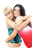Two happy embracing friends Royalty Free Stock Photo