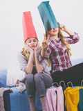 Two happy female friends after shopping royalty free stock images