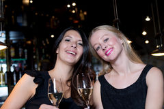 Two happy female friends toasting with champagne Royalty Free Stock Images