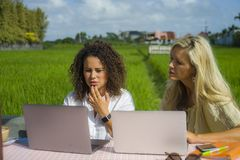 Two happy female friends working outdoors at beautiful internet cafe with laptop computer caucasian woman and an afro mixed girl stock photo
