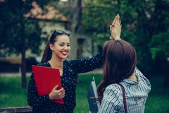 Two happy female students are giving high five after successfully learning stock image