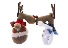 Two Happy festive reindeer Royalty Free Stock Images
