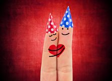 Two happy fingers. In love Royalty Free Stock Image