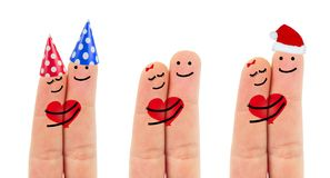 Two happy fingers in love. Collection Royalty Free Stock Images