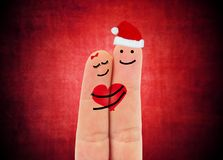 Two happy fingers. In love Royalty Free Stock Photo