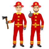 Two happy firemen holding fire axe and making ok gesture. Portrait of two happy firemen holding fire axe and making ok gesture  on white background Stock Photography