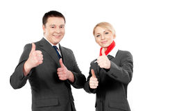 Two happy flight attendants Stock Photo