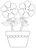 Two Happy Flowers vector illustration