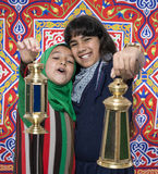 Two Happy Friends Celebrating Ramadan Stock Image
