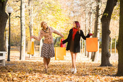 Two happy friends with shopping bags walking through the park Stock Photo