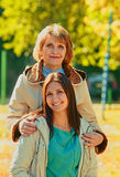 Two happy generations outdoors Royalty Free Stock Photography