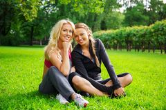 Two happy girl outdoors Royalty Free Stock Images
