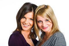 Two happy girlfriends royalty free stock photo