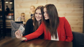 Two happy girlfriends taking selfie in cafe stock video