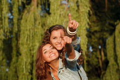 Two  happy girlfriends Stock Photos