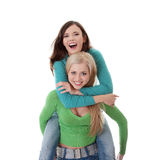 Two happy girls. Isolated on white Stock Photos