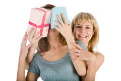 Two happy girls. With celebratory boxes Stock Photos