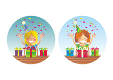 Two happy girls on birthday party Stock Photos