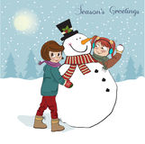 Two happy girls building a snowman. Vector illustr Stock Photos