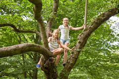 Two happy girls climbing up tree in summer park Stock Image