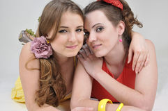 Two happy girls friends. stock photos