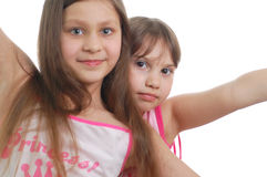 Two happy girls(friends). Two happy little girls isolated over white background Stock Photo