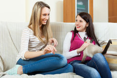 Two happy girls  gossiping   in home Stock Photo