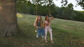 Two happy girls have fun and enjoy free time together on rope swing stock video