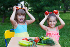 Two happy girls kids children wearing beautiful dresses holding Stock Photography