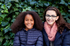 Two happy girls in the park. With coats Royalty Free Stock Image