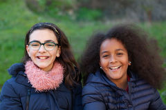 Two happy girls in the park Stock Photography