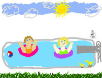 Two happy girls playing in pool. Child like drawing of two girls in the swimming pool playing Royalty Free Stock Photo