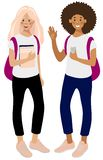 Two happy girls students, Caucasian girl with books and African American with a smartphone. stock illustration