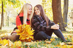Two happy girls, tinted Royalty Free Stock Photography