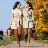 Two happy girls twins, in the autumn park. Two cheerful girls twins, in the autumn park Royalty Free Stock Photo