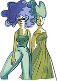 Two happy girls are walking vector illustration