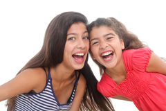 Two happy girls. On white background Royalty Free Stock Photos