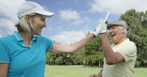 Two happy golfers giving high five stock video footage
