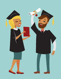 Two happy graduating students. Two happy graduate students with diploma Royalty Free Stock Photos