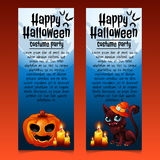 Two happy Halloween cards with cat and pumpkin Stock Images