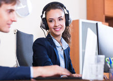 Two happy help line operators Stock Image