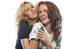 Two happy hugging sisters Royalty Free Stock Image