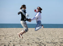 Two happy jumpers Royalty Free Stock Photo