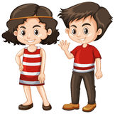Two happy kids with big smile. Illustration Royalty Free Stock Image