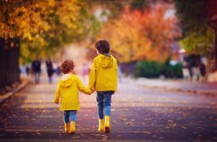 Two happy kids, brothers walking together on autumn street in yellow raincoats and rubber boots stock photo