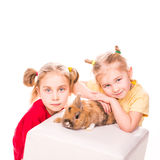 Two happy kids with easter bunny. Happy Easter Royalty Free Stock Image