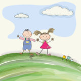 Two  happy kids on a meadow Stock Images